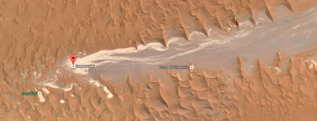 How Sossusvlei, Deadvlei, Dune 45 and the Tscauchab river bed fit together... from Google maps
