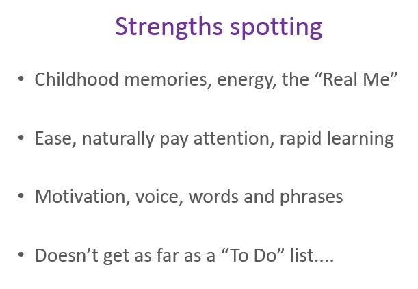Questions to help participants work out how to spot their own strengths