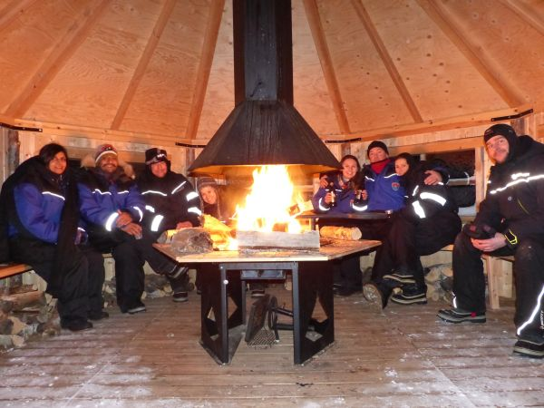 Keeping warm inside the hut