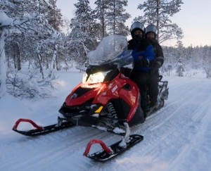 Snowmobiling in the forest