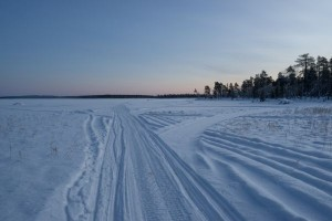 Snowmobile tracks on Lake Inari