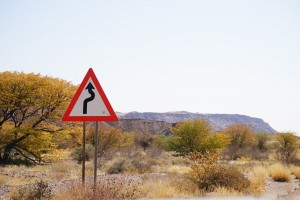 Finding your way in the Namibian countryside, sometimes there is a twist in the road